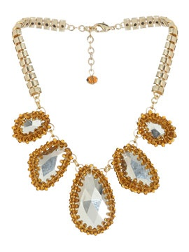 "Crystal Pendant Short Necklace  Style Number: 47270299  $39.00 This gorgeously art deco bib-style statement necklace features five large enamel geometric cutout crystals, alongside rhinestone embellished jewels, all attached to a thick chain. Necklace measures 7"" inches. ArdenB.com"
