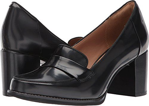 69a3842d82b CLARKS Womens Tarah Grace Penny Loafer Black Shiny Leather 6 M US ...