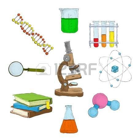 Ciencias elementos decorativos Conjunto de iconos con frascos dna microscopio libros aislados ilustr Foto de archivo
