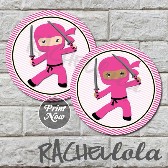 Pink Ninja 2 inch cupcake toppers, stickers, label, birthday party