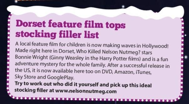 A nice little article about Who Killed Nelson Nutmeg - an ideal stocking filler DVD, in Dorset's Primary Times. @PrimaryTimesDor