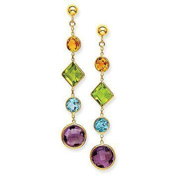 14k Yellow Gold 1.8IN Long Synthetic Muti-Gemstone Post Earrings If you love dangle and drop earrings then consider getting a couple pairs of cute, unique and adorable statement earrings. I really love all these large earrings as they make a bold fashion statement. My favorites are the ones that are fringe but a nice pair of drop earrings can look really sophisticated also. These charming yet adorable statement earrings can really elevate your outfit and your appearance.