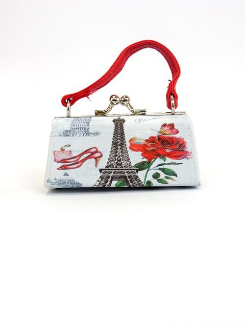 Doll Purses - Paris French Chic Eiffel Tower Design Red Handle
