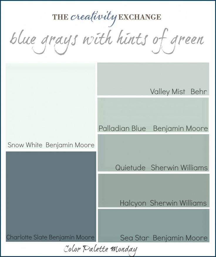 Printable color palette of fantastic gray blues with hints of green (Color Palette Monday #1). Link to rooms painted in these colors.  A new weekly feature on The Creativity Exchange