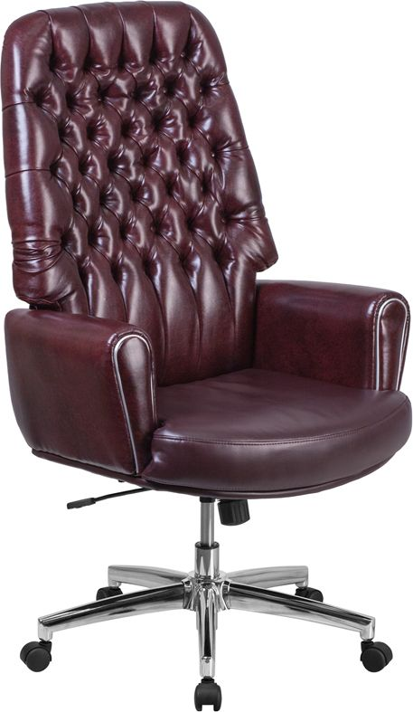 High Back Traditional Tufted Burgundy Leather Executive Swivel Chair With Arms Office Chairs And