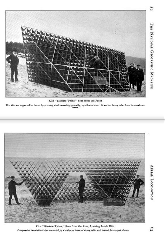 """""""Bell had been preoccupied with building kites that improved on Lawrence Hargraves' """"box"""" designs. He settled on kites composed of multiple cells of tetrahedral structures, a design that would increase the amount of surface area with a minimum of materials.""""—Enrique Ramirez, on """"Siamese Twin"""" kites by Alexander Graham Bell, in """"The Aerodynamic Lightness of Being"""""""
