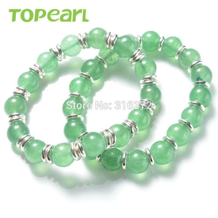 Topearl Jewelry 3pcs Green Aventurine Stretch Bracelets Handmade for Women SBR126