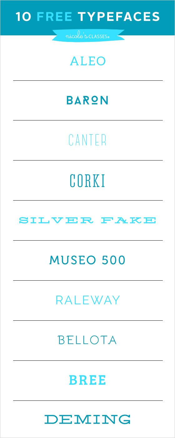 10 Free Typefaces || nicolesclasses  ~~ {10 free fonts w/ easy download links}