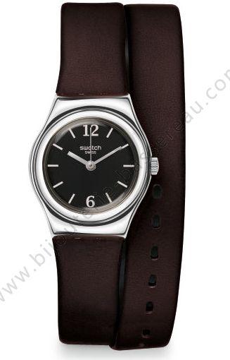 petite montre cuir brun double tour hump swatch YSS284