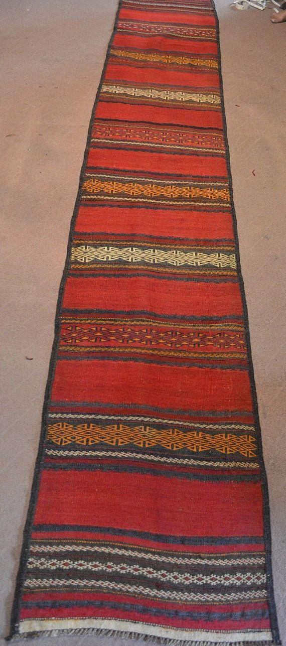 Marvelous Vintage Afghan Maldari Kilim Runner Long Runner Rug $149