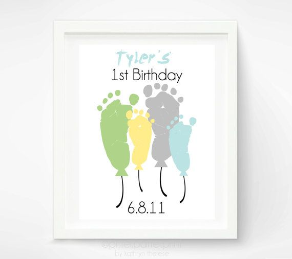 Baby's First Birthday Footprint Art Print - Personalized Baby Footprint Balloons - Babys First Year -  Baby's 1st Birthday Party Gift