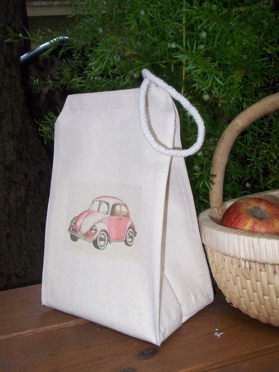 Recycled cotton lunch bag VW beetle by Bagitconscious on Etsy, $12.00