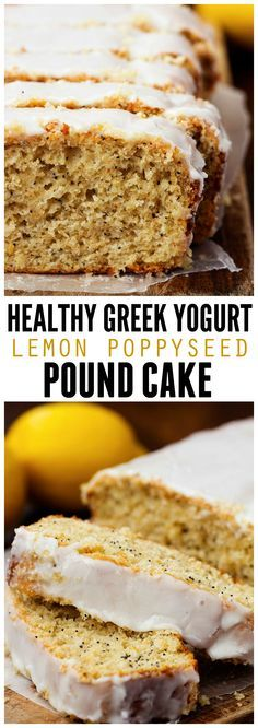 This Lemon Poppyseed Pound Cake is made with greek yogurt and healthier ingredients and it the perfectly moist and delicious!