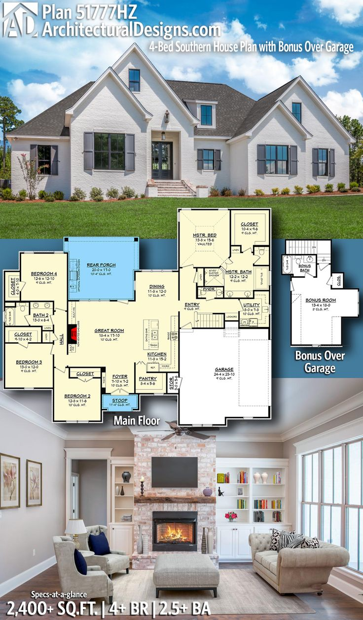 Architectural Designs Southern House Plan | 4+ Beds | 2.5+ Baths | 2,400+