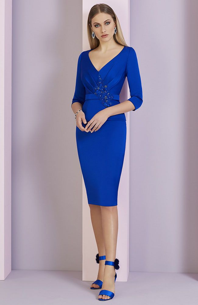 02b93e652109 Invitations by Veni Infantino 29326 occasion wear dress - Colour Royal Blue  - Price £345. A knee-length crepe dress with a V-neckline