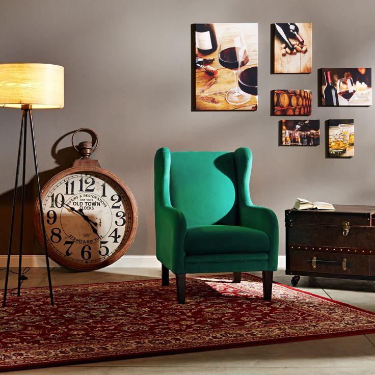 Lionel křeslo v zelené látce / retro armchair
