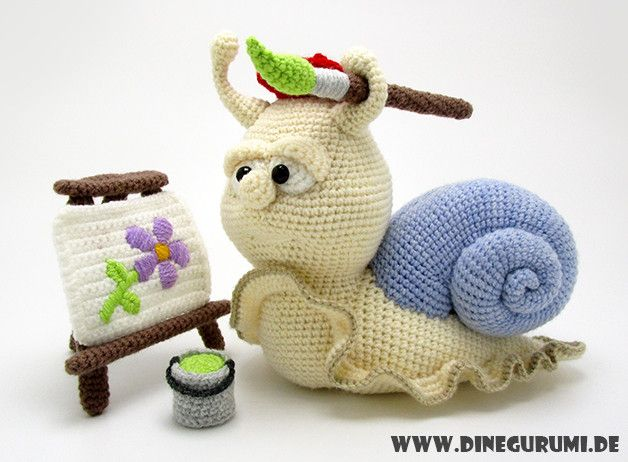 Häkelanleitung für die süße Schnecke / diy knitting instruction for cute snail by Dinegurumi via DaWanda.com