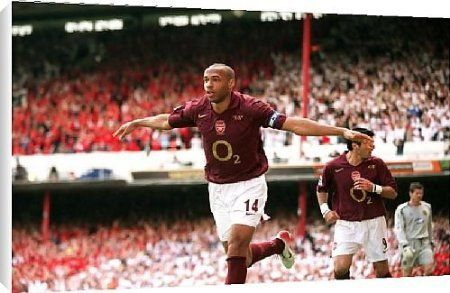 Canvas Prints of Thierry Henry celebrates scoring Arsenals 3rd goal his 2nd from Arsenal FC Prints - http://www.amazon.co.uk/Prints-celebrates-Arsenals-Arsenal-FC/dp/B00729K6J2/jm31-21