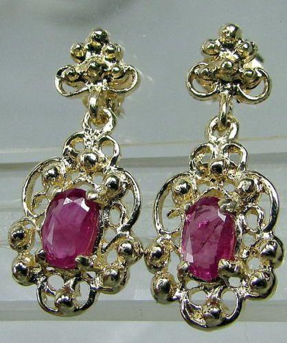 14K Yellow Gold Red Ruby Ornate Drop Dangle Pierced Earrings