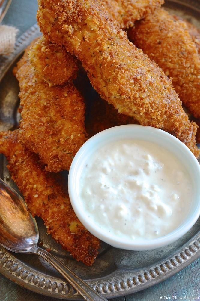 Crispy Fried Chicken Fingers with Homemade Blue Cheese Dipping Sauce ciaochowbambina.com
