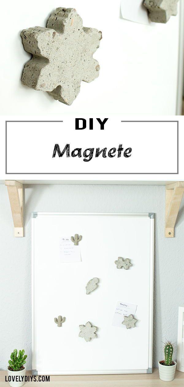 DIY Idee Individuelle Magnete aus Beton basteln DIY Geschenke
