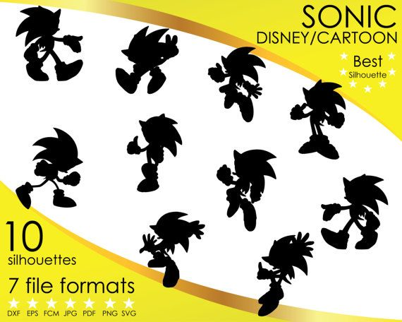 Hey, I found this really awesome Etsy listing at https://www.etsy.com/listing/501447686/10-silhouettes-sonic-the-hedgehog-disney
