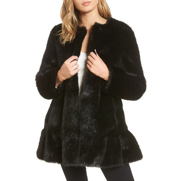 Women's Kate Spade New York Faux Mink Flounce Coat (1.625 BRL) ❤ liked on Polyvore featuring outerwear, coats, black, kate spade coat, mink coat, kate spade, ruffle coat and faux fur mink coat