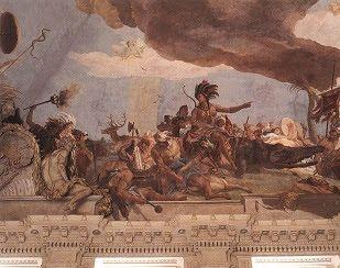 Affresco raffigurante il Continente americano, dipinto da Gian Battista Tiepolo nel 1753; Castello di Würzburg, Baviera.