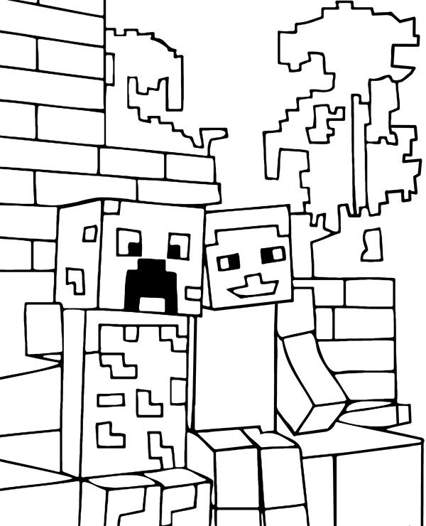 Minecraft Zombie And Steve Coloring Page Minecraft Coloring Pages Cool Coloring Pages Super Coloring Pages