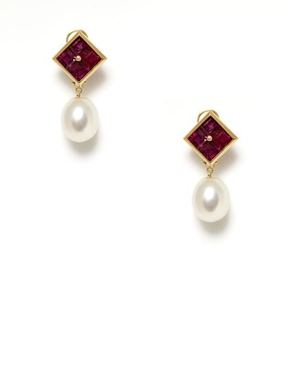 "Assael Ruby Cluster & White South Sea Pearl Drop Earrings. Also filed under ""things that will happen when I win the lottery"""