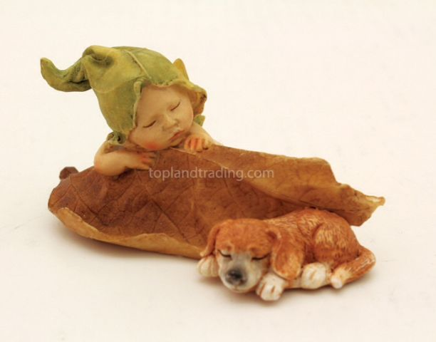 Sleeping little baby fairy with puppy 4135
