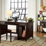 Elegant Home Office Design Ideas with White Brick Wall and Dark Wooden Desk