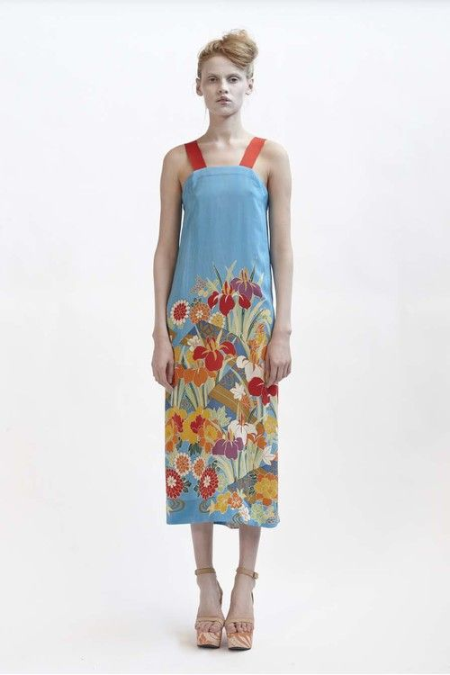 130/F01419 Mid Length Dress with Grosgrain Strap