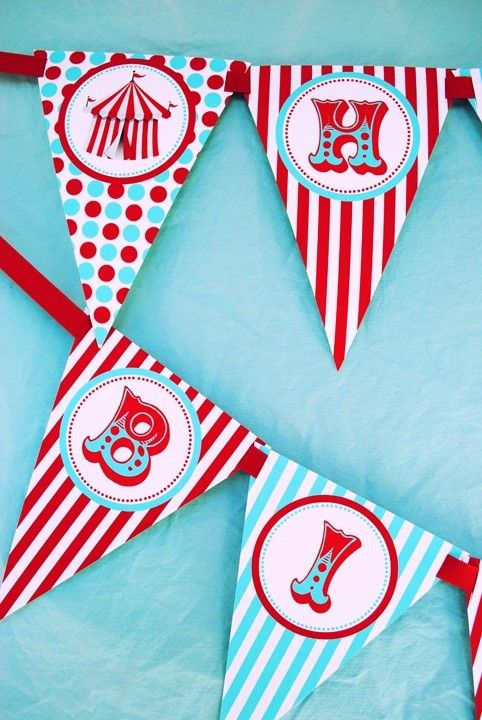 Carnival Circus Happy Birthday Banner - As Seen On AMY ATLAS - Aqua and Red Collection - Gwynn Wasson Designs PRINTABLES