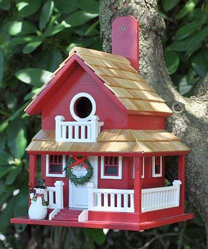 Home Bazaar Christmas Cape Cottage Birdhouse, Handcrafted Holiday Themed Bird Houses at Songbird Garden