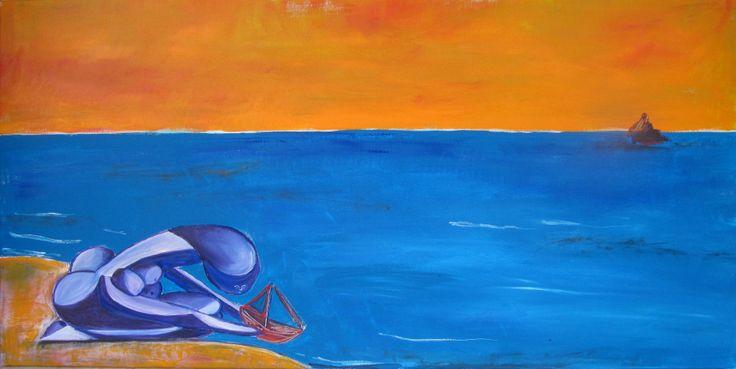 re-edit Picasso. donna che gioca sulla spiaggia. arancione e blu.