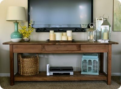 like the tv over table instead of a entertainment center/stand, like style of table & table decor.