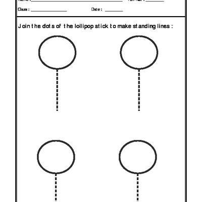 Worksheet of Standing Lines-02-Pattern-Writing-English