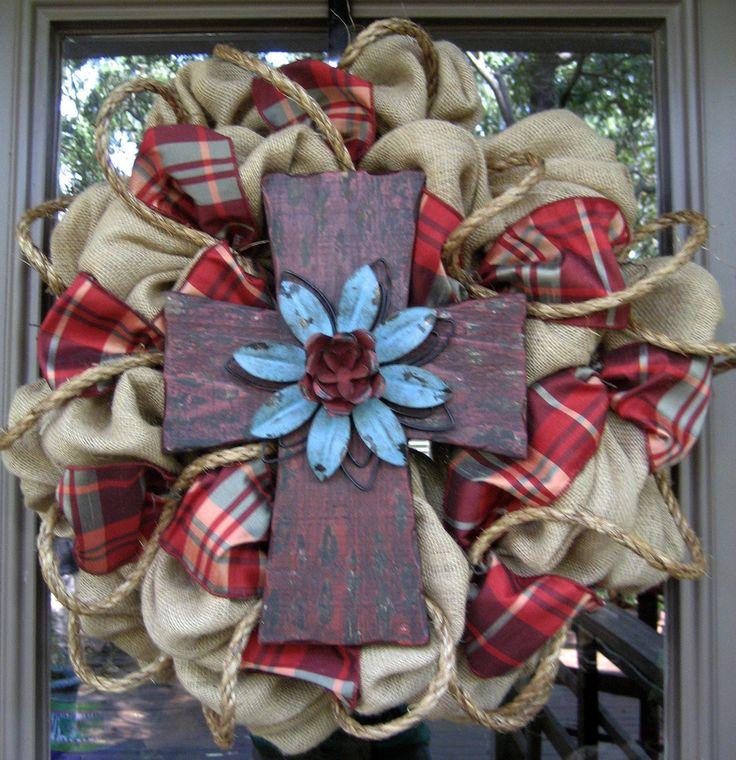 BURLAP WREATH with RUSTIC Cross.. beautiful