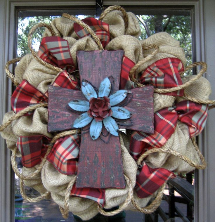 "BURLAP WREATH with RUSTIC Cross...perfect for FALL.  and when I pinned this under ""crafts for me"", I of course meant ""crafts for Andrea""."
