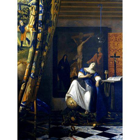 """Obraz reprodukcja na płótnie """"Alegoria wiary"""" Jan Vermeer - dostępny w rozmiarach 80x70, 70x60, 60x45 i 40x30 cm #fedkolor #reprodukcje #reprodukcja #obraz #na #płótnie #JanVermeer #Vermeer #malarstwo #sztuka #art #dzieło #alegoria #wiara #AlegoriaWiary #malowidło #naścianę #napłótnie"""