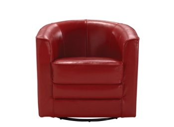Conrad Leather Swivel Accent Chair | Relax in style with this generously scaled, European-style accent chair in antique red.   I love this chair for its style, comfort and small size.  Every apartment can use extra seating and an accent chair such as this is a fabulous find.  raymourflanign.comAffordable Small, Antiques Red, Fireplaces Chairs, Conrad Leather, European Styl Accent, Extra Seats, Accent Colors, Accent Chairs, Flanigan Dreams