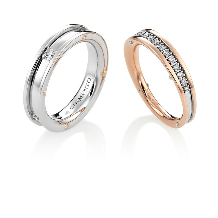 CHIMENTO Aeternitas white and rose gold with diamonds rings.
