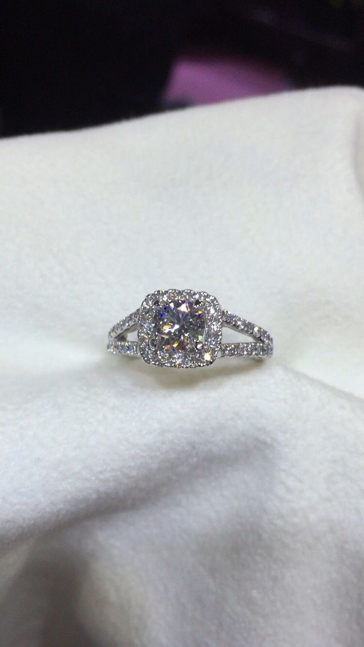 A Custom Made Cushion Halo Split Shank Engagement Ring With A Round  Brilliant Cut Split Shank Engagement Ringswedding