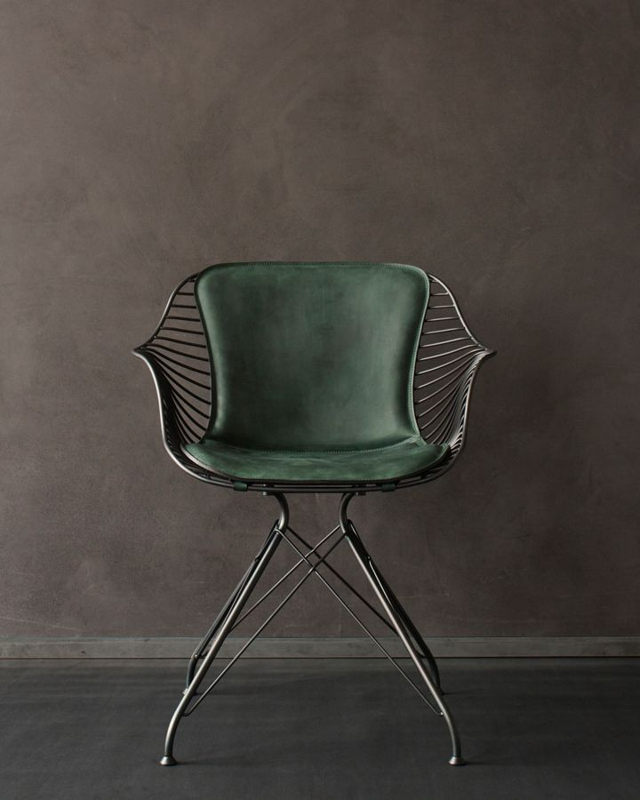 Overgaard & Dyrman: Wire Dining Chair, matt black powder coated steel and Matstone british racing green leather