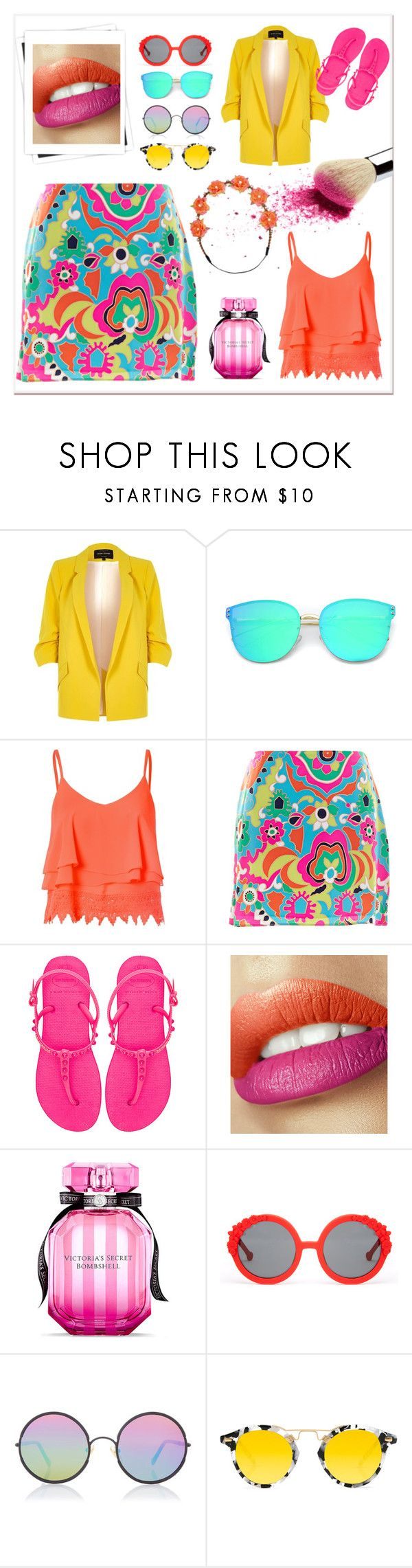 """""""2 - Colour Craze"""" by teentrenders ❤ liked on Polyvore featuring River Island, Glamorous, Alice & Trixie, Havaianas, Victoria's Secret, Preen, Sunday Somewhere, Krewe and Carole"""