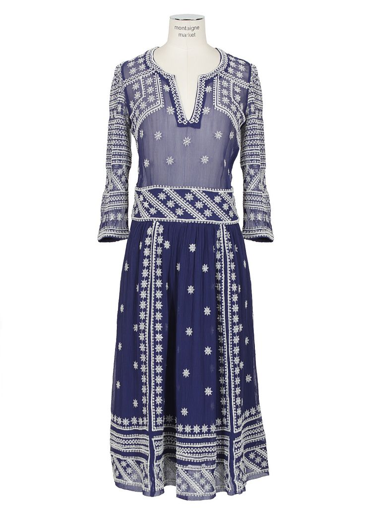 Isabel Marant blue and white embroidered crinkle silk dress