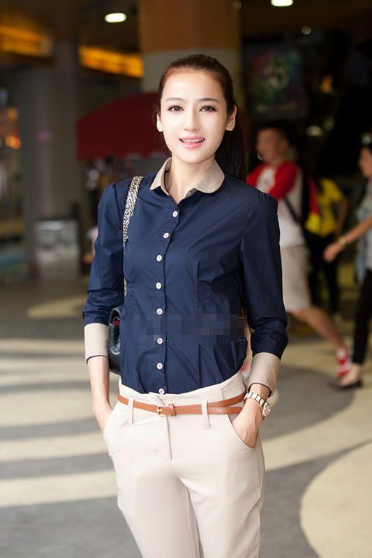 Dark Blue Retro Street Stylish Asian Trendy Office Lady Shirt 2