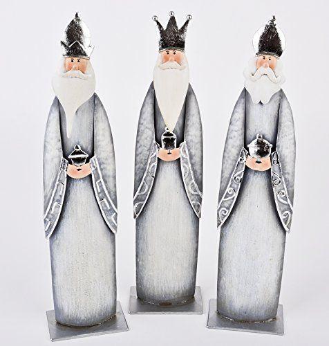 Heilige drei Könige Figuren 3er Set Metall 32x8cm grau silber Weihnachten Xmas