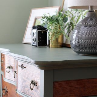 Two-Tone Painted Dresser Makeover in Cypress Vine Green and Wood